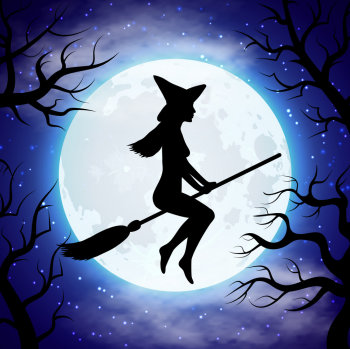 Silhouette Of Witch Flying On The Broom Vector Colorpng png free download