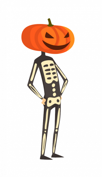 Skeleton With A Pumpkin On His Head Funny Person Vector Colorpng png free download