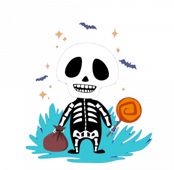Skeleton With Candy Vector Colorpng png free download