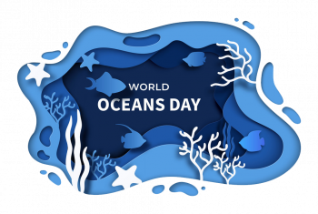 World Oceans Day Paper Cut Sea Background June Vector Imgenes Png Wave Colorpng com